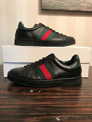 1d0db5285 $980 GUCCI MEN'S Black Leather Suede Studded Slip-on Shoes Sneakers ...