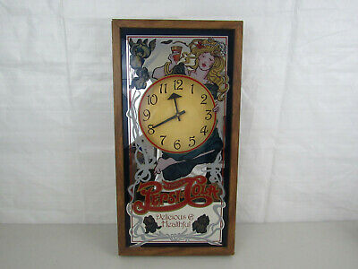 """""""Drink Pepsi Cola Delicious & Healthful"""" Glass Mirror Clock-25"""" Tall-Working"""