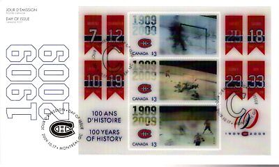 2009 #2340 Montreal Canadiens 100th Anniversary S/S FDC with CP cachet