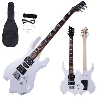 New White Flame Type Beginner Practice Right-Handed Electric Guitar Set