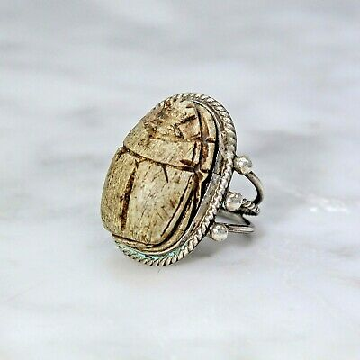Antique Vintage Egyptian Revival Silver Huge Carved Scarab Ring Heavy 6.75-7
