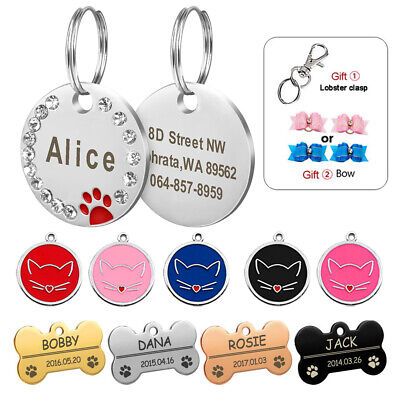Bone/Round Personalized Rhinestone Puppy Kitten ID Name Dog Tag Free Hair Bows