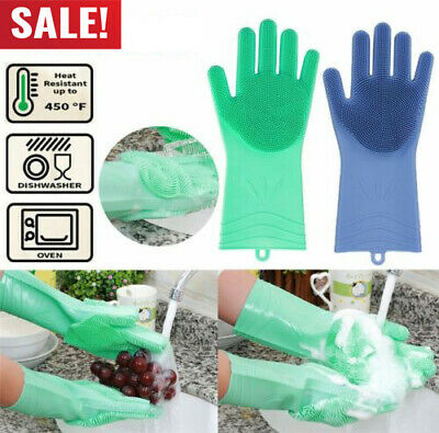 1Pair Magic Silicone Rubber Dish Washing Gloves Scrubber Home Clean Scrubbing RF