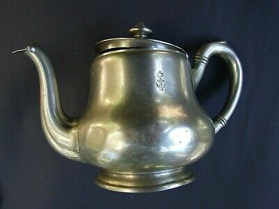 Antique Berndorf  Alpacca Tea Pot British Royal Navy Anchor & Crown Insignia WWI