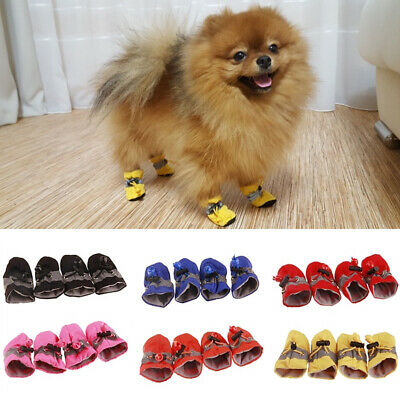 4pcs/Set Pet Dog Puppy Boots Booties Anti-slip Paw Protect Rain Shoes