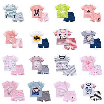 Baby Toddler Girl Kids Infant Boys Summer Cotton Outfits Tshirt+ Short Pants Set