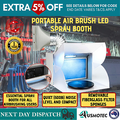 New Turntable Light Portable Airbrush LED with Exhaust Extractor Spray Booth Kit