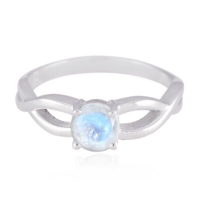 Natural Gemstone Round Faceted Rainbow Moonstone rings- 925 Silver Long gift Us