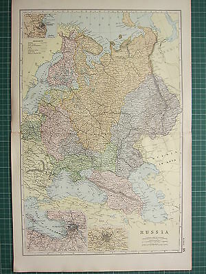 1900 Large Victorian Map ~ Russia ~ St Petersburg Moscow ~ Odessa Finland
