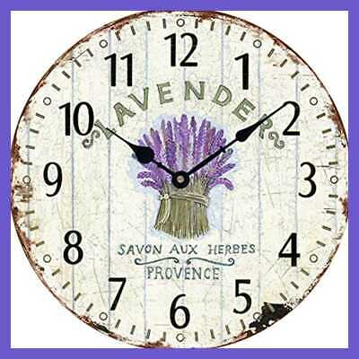 "Wooden 12"" Wall Clock Atomic Retro American LAVENDER Pattern Roman Number Quite"