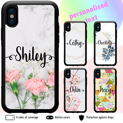 iPhone 11 Pro Max X XS XR 8 Plus Shockproof Case Marble Flower Personalised Name