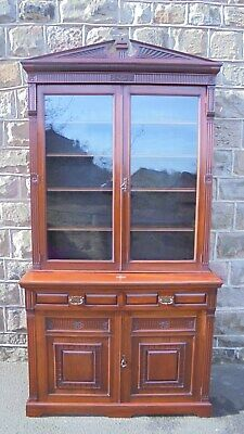 Antique Mahogany Library Bookcase Cabinet Cupboard