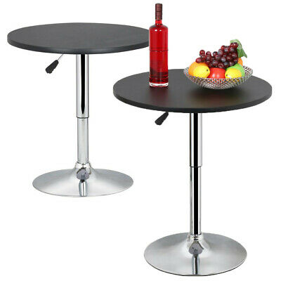 2Pcs Round Wooden Top Bar Table Pub Table Home 360° Swivel Height Adjustable
