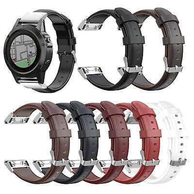 For Garmin Smartwatch Fenix6X Quaitx3 26mm Genuine Leather Wrist Strap Band New