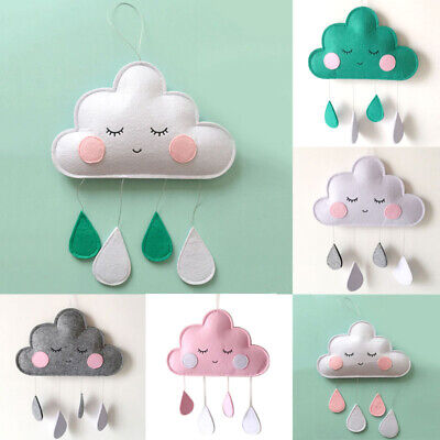Cloud Raindrop Wool Felt Pram Tent Garland Pendant Hanging Wall Nursery Decor