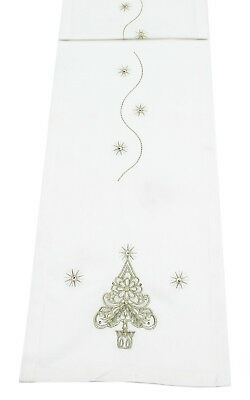 Lumas Champagne/Gold Embroidered Christmas Table Linen - Table Runner or Napkins