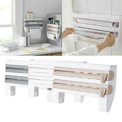 4-in-1 Kitchen-Roll Dispenser Cling Film Tin Foil Towel Holder Rack Wall Mounted