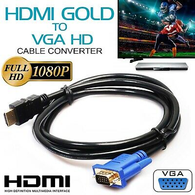 HD 15Pin 1080P HDMI Male to VGA Male Cable Adapter Monitor Lead Converter Laptop