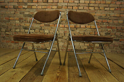 1960s Vintage Dining Folding Chair Chrome Cord Japan 1970s 1/10