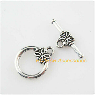 10 New Connectors Necklace Flower Round Circle Toggle Clasps Tibetan Silver