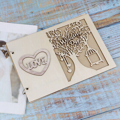 Wooden Wedding GuestBook Happiness Tree Guest Book Wedding Gift for Couples ^S