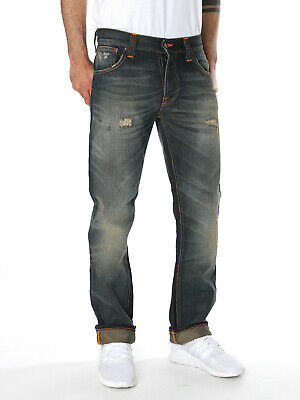 new Nudie Mens Regular Straight Fit Jeans  Hank Rey Organic Contrast