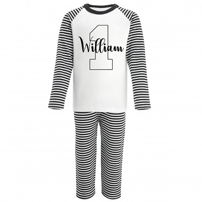 Personalised Name and One Monochrome Birthday Pyjamas Boys Girls Gifts Pjs First