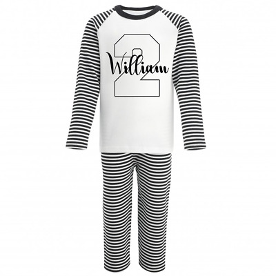 Personalised Name and Two Monochrome Birthday Pyjamas Boys Girls Gifts Pjs 2