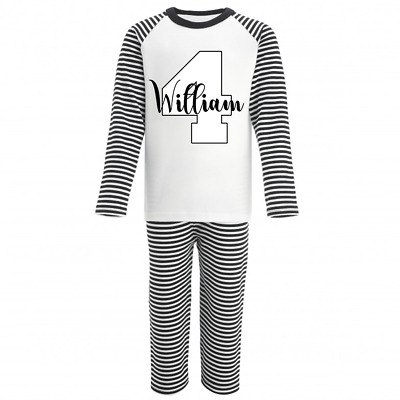 Personalised Name and Four Monochrome Birthday Pyjamas Boys Girls Gifts Pjs 4