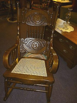 antique OAK Rocking Chair Pressed back cane seat bentwood arms refinished