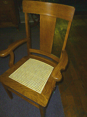Antique Oak Chair T Back arm chair Cane Seat Refinished Re Glued Kitchen