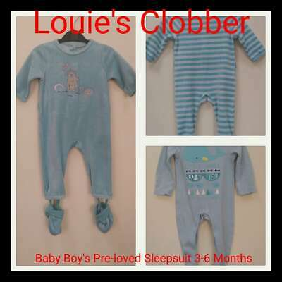 Blue 6-18 months CLEARANCE Disney  Velour Sleepsuit Boys All in one