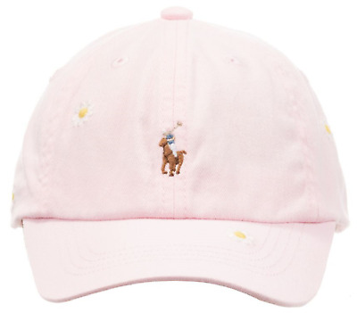 RALPH LAUREN Girls pink CAP Daisy embroidery / full colour pony 2-4Y BNWT
