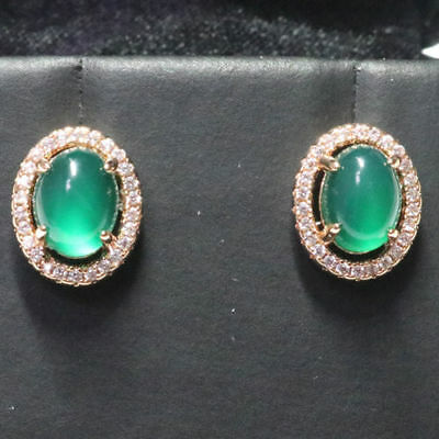 Antique Vintage Green Emerald Diamond Earrings 14k Gold Plated Women Jewelry