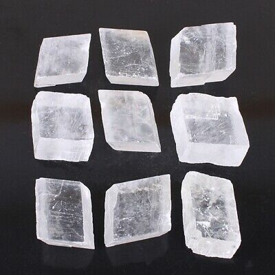 30-50mm Optic Ice Calcite Iceland Spar Natural Clear White Crystal Cubes Mineral