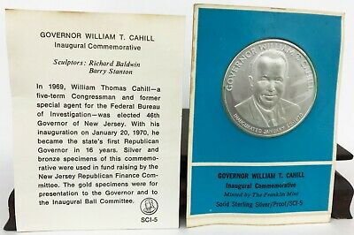 1970 Franklin Mint Sterling Silver Commemorative Medal Gov. William T. Cahill