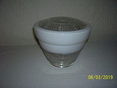 Vintage Art Deco Frosted & Clear Glass CEILING LIGHT FIXTURE SHADE