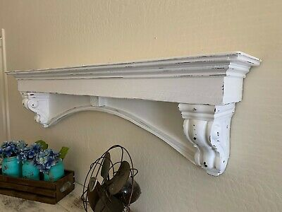 fancy arch mantle, gothic mantle, custom wall shelf, mantle with corbels,54 inch