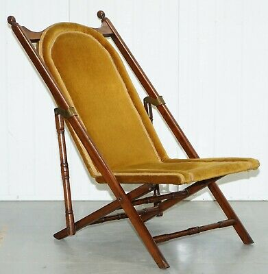 Lovely Rare Victorian 1890 Military Campaign Folding Armchair Very Comfortable