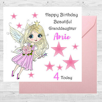 Personalised Birthday Card Fairy Rose Size 6x6 1st 3rd 5th Granddaughter Sister
