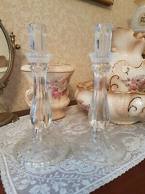 Pair Of Glass Candlesticks, Approx 27cm Tall, 12cm Max Diameter
