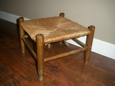 Vintage Woven Jute Rope Twine  Maple Wood ?Foot Stool Ottoman Country Rustic