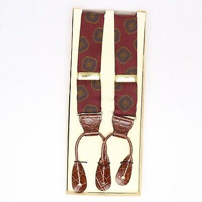 Nordstrom Mens Silk Braces Suspenders Burgundy Blue Gold Geometric Print NEW