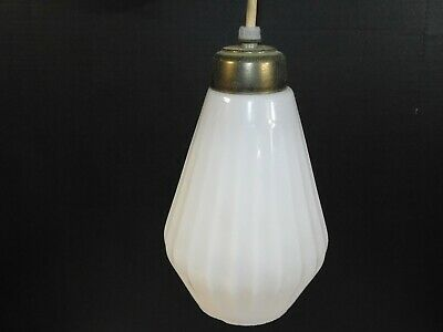 Vtg Brass Glass Mid Century Modern Hanging Light Fixture Pendant Lamp Retro MCM