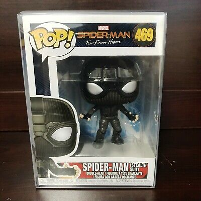 "Funko Pop Marvel : Spider-Man Stealth Suit #469 Vinyl w/Protector case ""MINT"