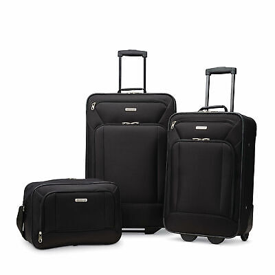 American Tourister Fieldbrook Xlt 3pc Skate Wheels Black Travel Luggage Bag Set