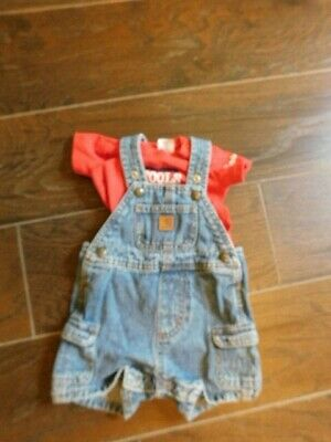 Carhartt Size 6M Month Baby Boy 2 Piece Overall + Top Set EUC