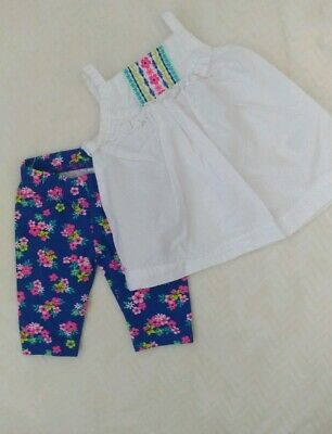 788adc538a7b CARTER'S BABY GIRL NB Capri Outfit Newborn Green Top Tights Summer ...