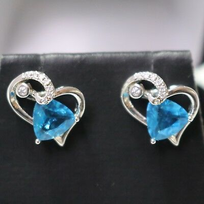 Vintage Carved 1 Cut Heart Blue Aquamarine Earrings CZ Paved 14K White Gold