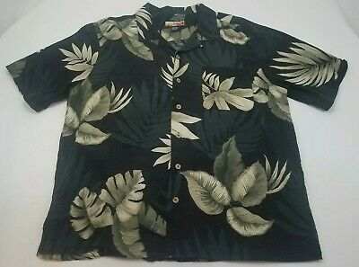 67bd9a20 Havana Jacks Cafe 100% Silk Hawaiian shirt XL Men's Beige floral on Black  Shirt